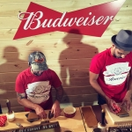 Budweiser had craftsmen making custom leather coozies prior to the show at Madison Square Garden, August 25, 2016.