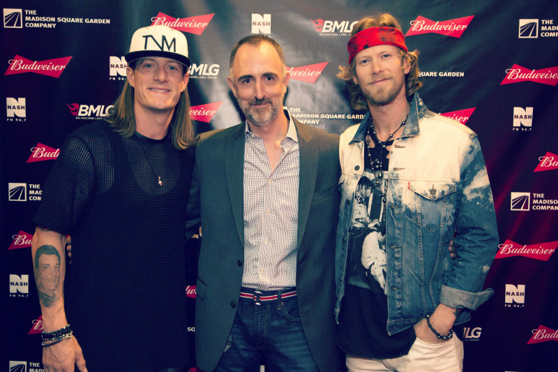 The Country Scene's Shawn St. Jean with Florida Georgia Line's Tyler Hubbard and Brian Kelley before Thursday's show at Madison Square Garden.