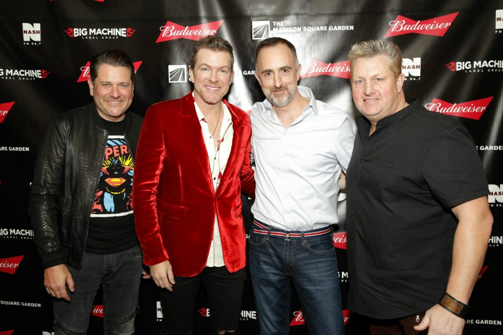 The Country Scene's Shawn St. Jean with Jay, Joe Don and Gary of Rascal Flatts at MSG on November 14, 2016.