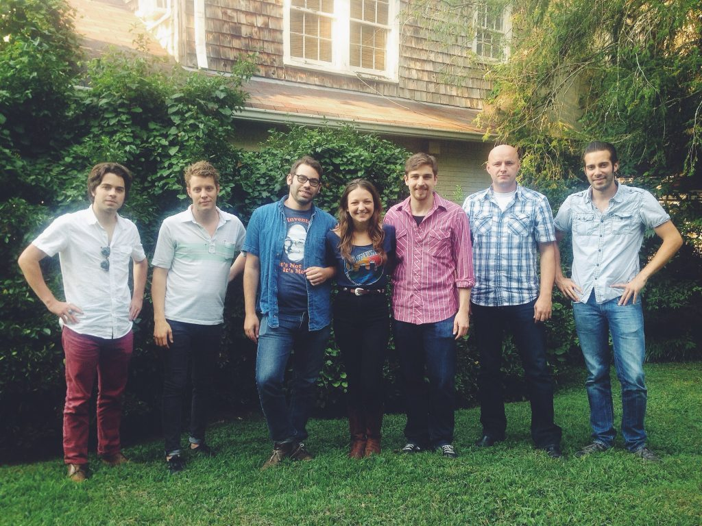 At Farmland Studios in Nashville. From L-R: Jeremy Fetzer, Anderson East, Brett Resnick, Kelsey Waldon, Mike Rinne, Josh Hunt, and Dan Parks. Photo courtesy of Kelsey Waldon.