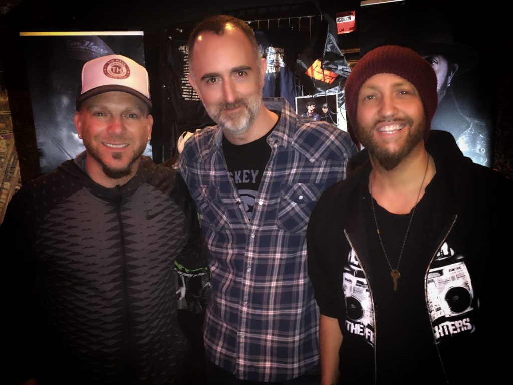 The Country Scene's Shawn St. Jean with Chris Lucas and Preston Brust from LOCASH at Gramercy Theatre in NYC on February 26, 2017.