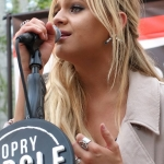 Kelsea Ballerini performing in Bryant Park NYC on September 9, 2015.