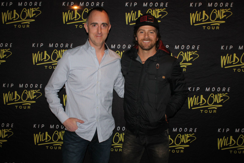 The Country Scene's Shawn St. Jean with Kip Moore before the show.