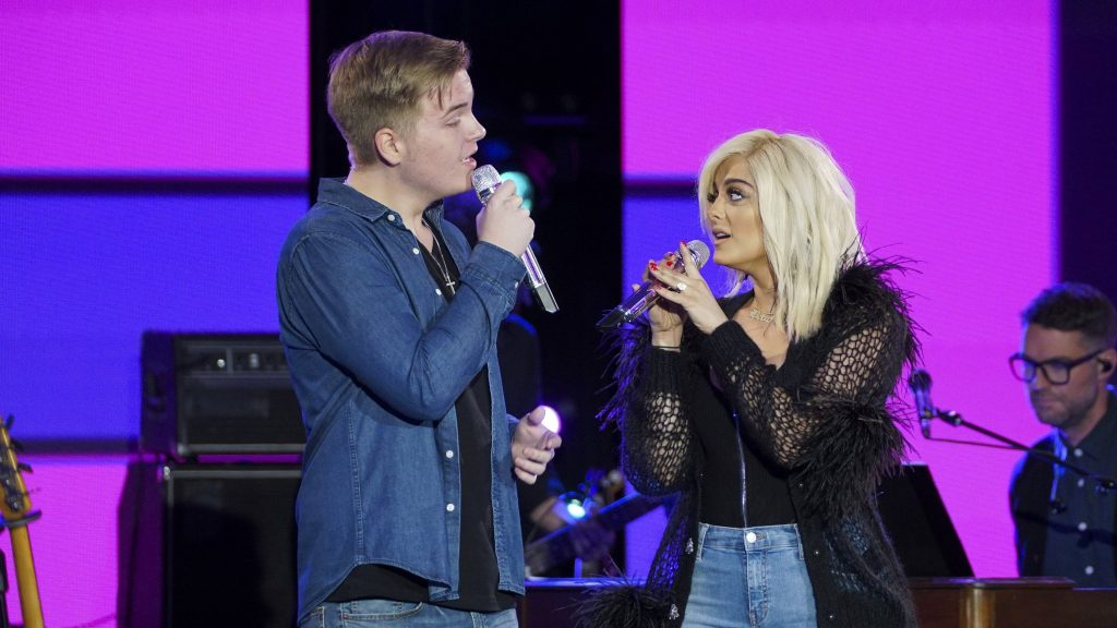 Caleb Lee Hutchinson with Bebe Rexha, April 16, 2018. Photo courtesy of ABC / American Idol.