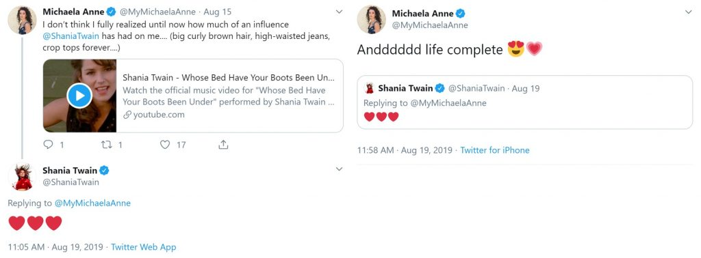 Michaela Anne Shania Tweets